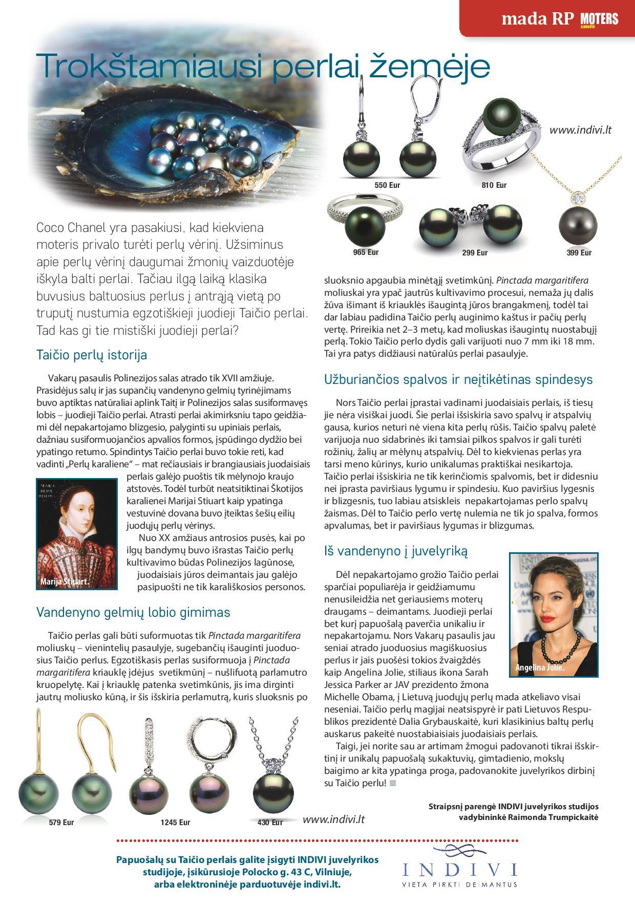 """INDIVI straipsnis apie Taičio perlus žurnale """"Moters savaitė"""""""