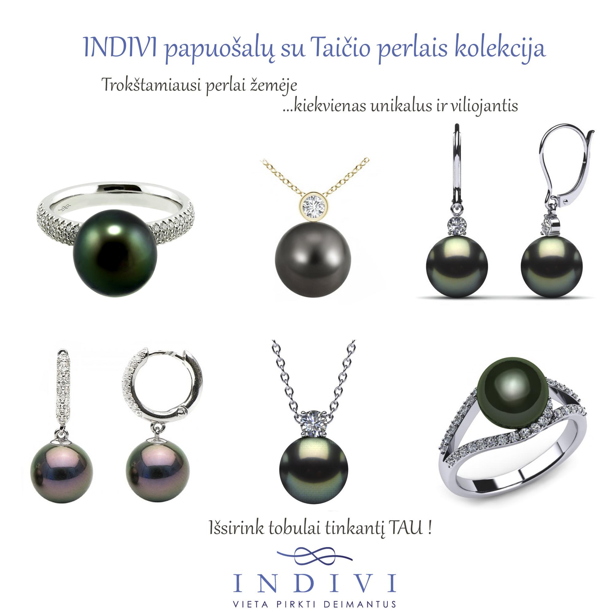 INDIVI papuošalų su Taičio perlais pavasario - vasaros kolekcija
